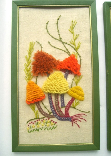 Pair of Colorful Mushroom Crewel Embroidery Pictures