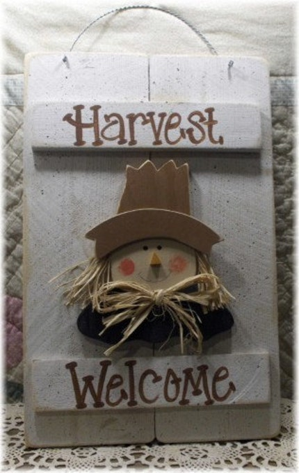 Harvest Scarecrow Wood Shutters Sign