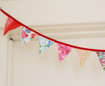 Fabric Bunting. Fabric Banner. Upcycled vintage fabrics. Party Decorations. Red Rainbow. Knotted Nest on Etsy