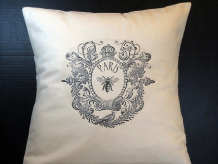 Bee in Paris Pillow Cover by Word Garden