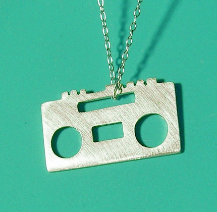 BOOMBOX sterling silver charm necklace