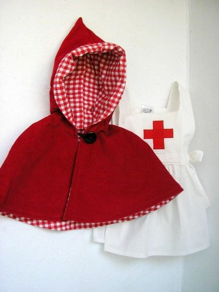 Red Cross Nurse  Pinafore and Cape Set -1T, 2T, 3T, 4T