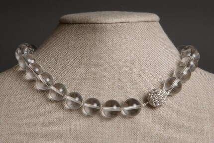 Simplicity Necklace - Crystal Quartz, Rhodium Fireball Clasp