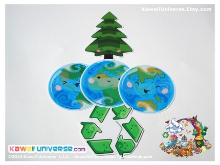 Kawaii Eco Enviro Green - Medium Vinyl Sticker Cling Pack