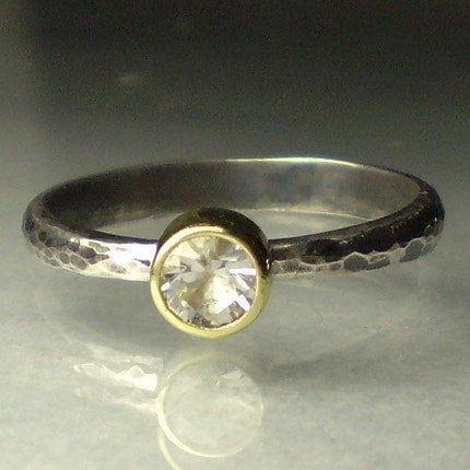 Herkimer Diamond Ring-18k Gold and Sterling