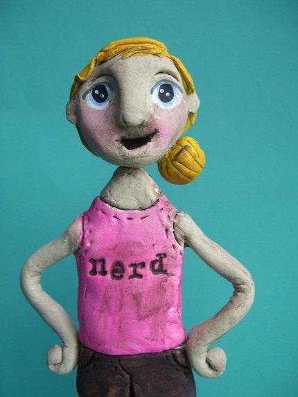 Custom Lady-paper clay folk art OOAK sculpture