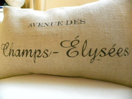 Burlap French France pillow Avenue des Champs Elysees