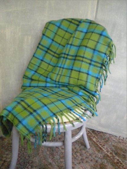 SALE Vintage Faribo Blue and Green Plaid Blanket Throw