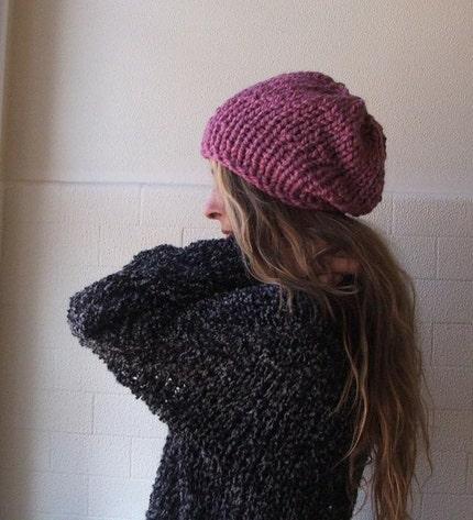 Warm dusky pink chunky hat