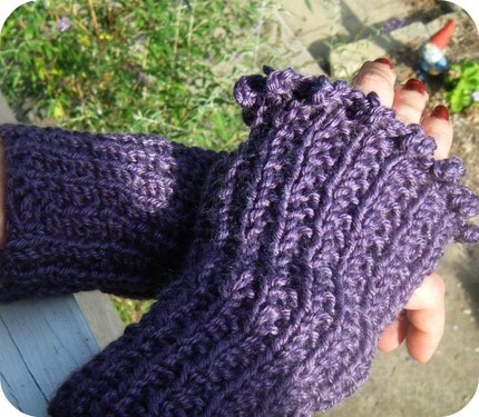 Purple Passion - Eco Blend Hand Knit Fingerless Gloves