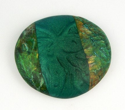 Polymer Clay Cabochon, Greens, Blues  BAO Item of the Week