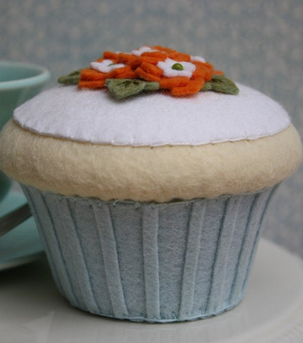 Felt Vanilla Cupcake With Aqua And Orange Flowers