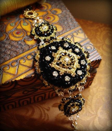 MORGAINE Cuff Bracelet- Black Velvet, Gold Lace, Crystal