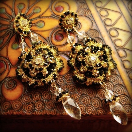 MORGAINE Chandelier Earrings- Black Velvet, Gold Lace and Crystal