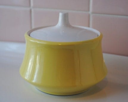 retro yellow sugar bowl