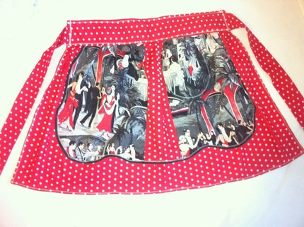 Vintage looking half apron with tango vintage fabric and red polka dot