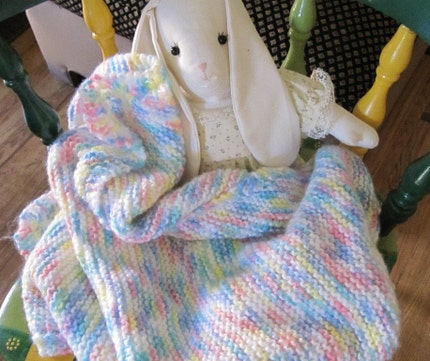 knit baby blanket (multi-colored)