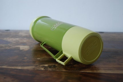 Vintage green and yellow Thermos flask