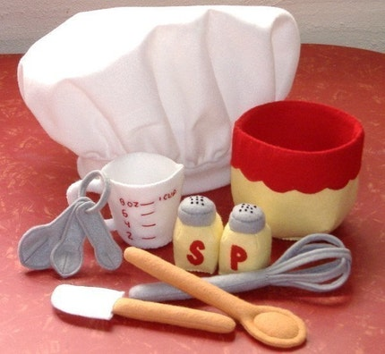 Be A Baker Set Felt Play Food PDF Pattern- Chef Hat, Mixing Bowl, Measuring Cup, Measuring Spoons, Wooden Spoon, Rubber Spatula, Whisk, Salt and Pepper Shakers