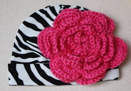 Zebra INFANT Crochet Knit Fabric Beanie with Interchangeable Oversize Hot Pink Crochet Flower Hairclip - Newborn - 12 months