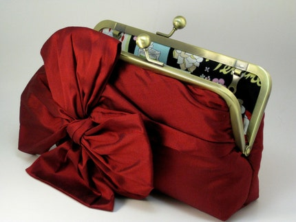 All About a BOW Clutch - Dark Red