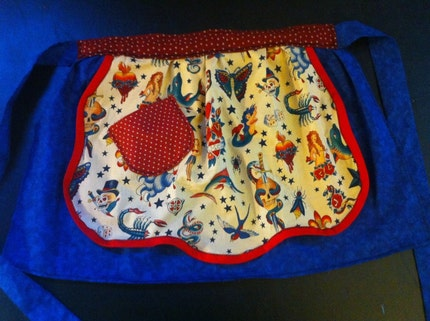 Sailor Jerry tattoo inspired half apron Alexander Henry fabric