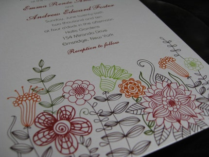 Flower Wedding Invitations SN419 (Sample Set)