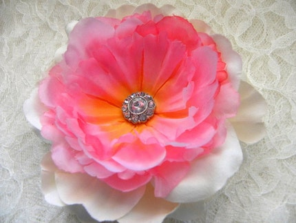 Cherry Blossom Pink and Ivory Peony Bridal Hair Flower