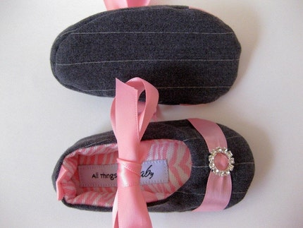 Baby girl pinstripe Mary Jane shoes with rhinestone buckle- Pink 'n Pinstripe