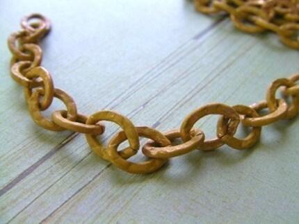 Saffron Patina Textured Copper Chain - Large Link