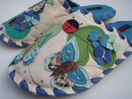 Karmen Sega handmade leather slippers - Botanical butterflies in spring