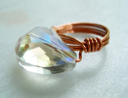 Cocktail Ring - Crystal and Copper