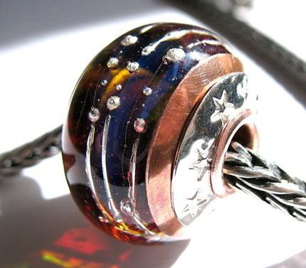 copper cored lampwork glass bead