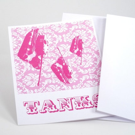 Damask Pink Tanks set of 6 thank you cards and by theRasilisk from etsy.com