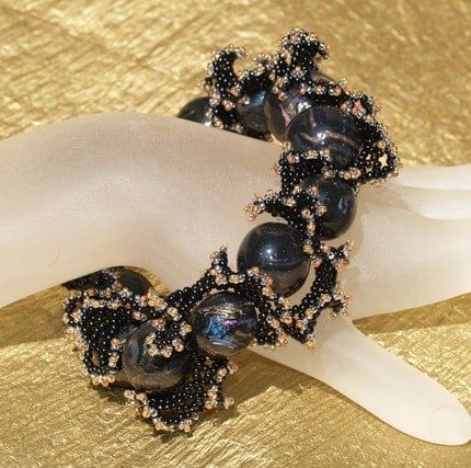 Black Beauty - Frilly Feminine Black and Metallic Bracelet (3262)