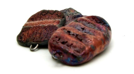 3 SALE Raku Ceramic Bead Connectors Raku Jewelry Supplies Handmade by MAKUstudio