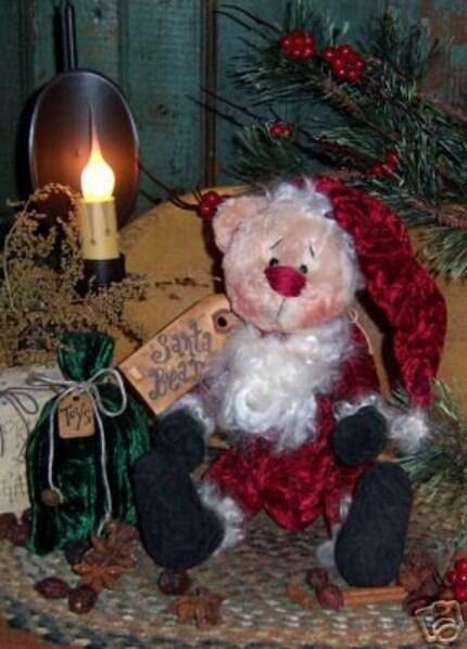Primitive Santa Bear Teddy Christmas Doll Pattern 256