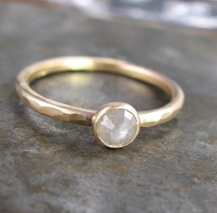 Silver White 4mm Rose Cut Raw Diamond and 14k Yellow Gold Ring - .40 Carat