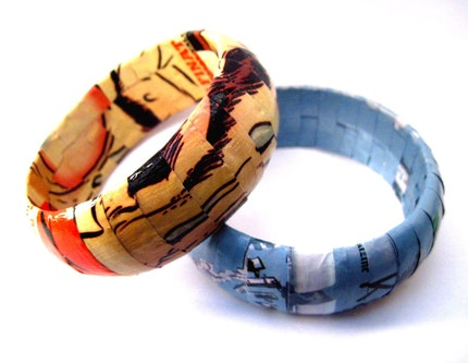 Recycled Magazine Bangle- Meltdown