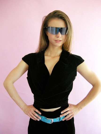 Black Velvetine Vintage Cropped Tie Top M L by empressjade on Etsy