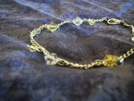 Clear Yellow Swarovski Crystal Bracelet