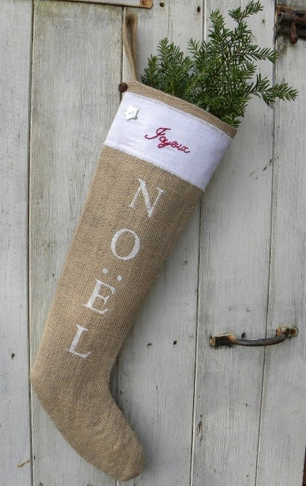 Burlap French Scandinavian style rustic Joyeux Noel Christmas stocking