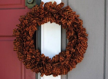 Harvest Plaid Fabric Rag Wreath