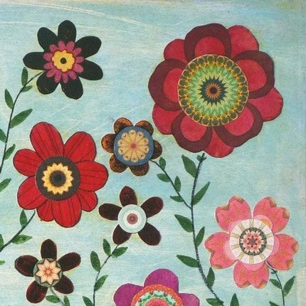 Abstract Retro Flower Painting Art Print Mounted on Wood Floral Collage
