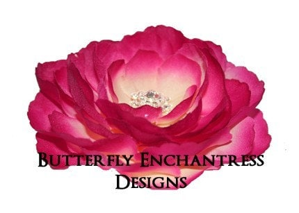 Rhinestone Fuchsia English Rose Flower Hair Clip