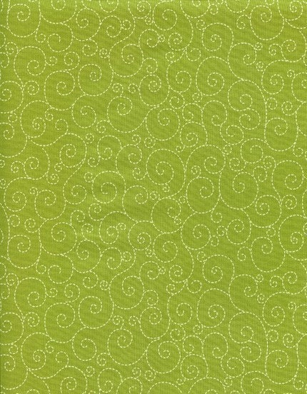 1  YARD Timeless Treasures Stitched Swirls on Green Fabric, Apple Collection