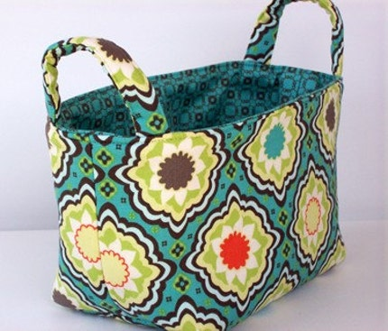 READY TO SHIP-Small Fabric organizer basket in Flourish