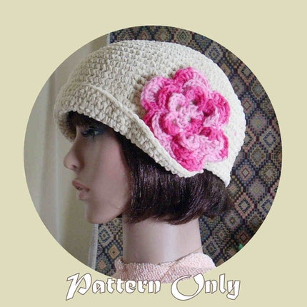 PDF Pattern for Cream Crochet Flapper cloche no68 by stubbornwoman from etsy.com
