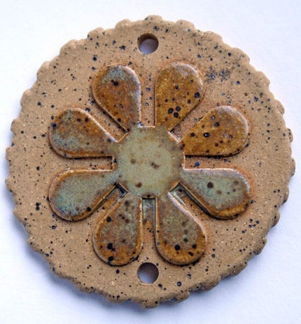 Handmade Ceramic Flower Pendant or Bead