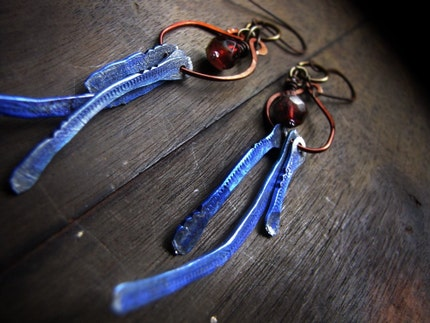 desert sky - hammered recycled metal and copper beaded earrings